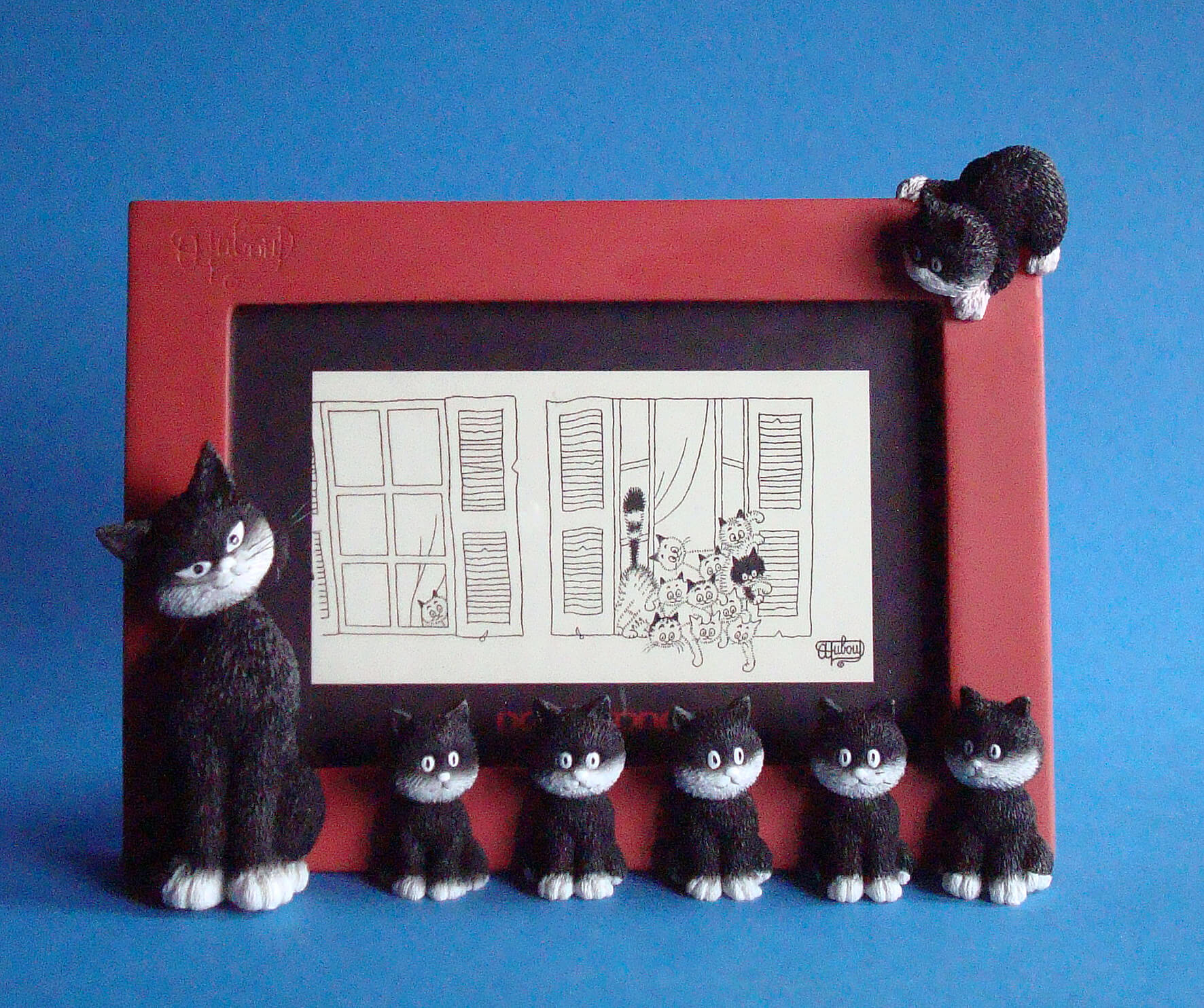 Dubout Cats - Cats in a Line Picture Frame (Red Frame)