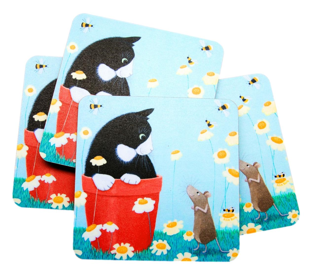 Ailsa Black Daisy Games Set of 4 Cat Coasters