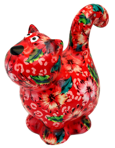 "Red Flowers Ceramic Pomme Pidou ""Dorothy"" Cat Money Box"
