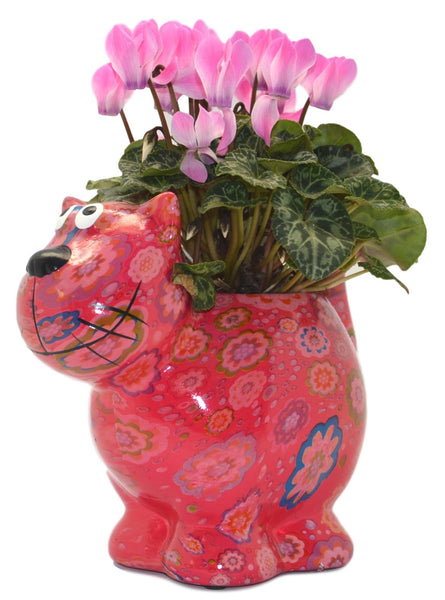 "Bright Pink Ceramic Pomme Pidou ""Dorothy Bloomer"" Cat Planter"