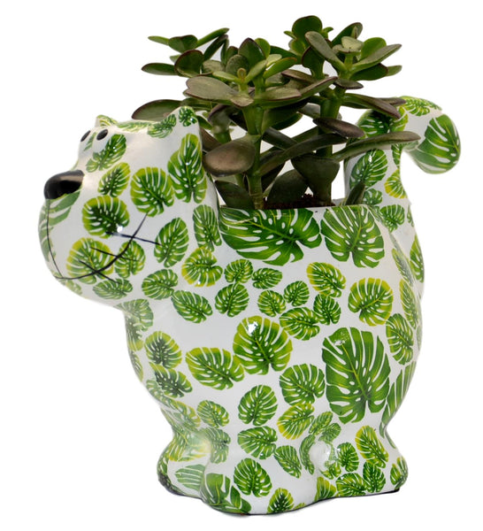 "Green & White Ceramic Pomme Pidou ""Dorothy Bloomer"" Cat Planter"