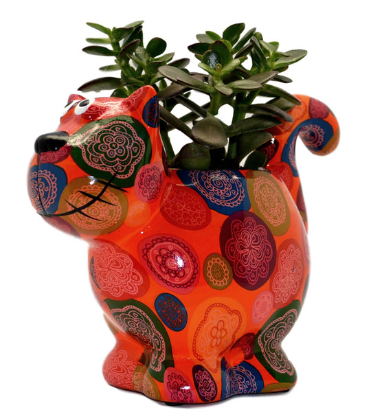 "Orange Ceramic Pomme Pidou ""Dorothy Bloomer"" Cat Planter"