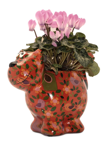 "Red Ceramic Pomme Pidou ""Dorothy Bloomer"" Cat Planter"