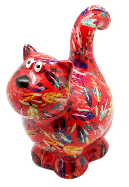 "Red Leaves Ceramic Pomme Pidou ""Dorothy"" Cat Money Box"