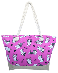 Dotty Cat Pink or Blue Large Beach Bag