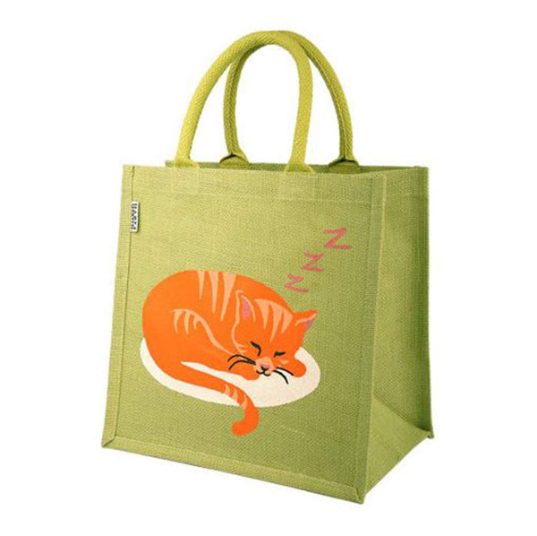 Sleeping Cat Jute / Tote Bag