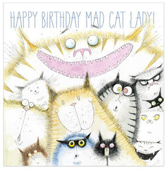 'Happy Birthday Mad Cat Lady' Cat Greetings Card