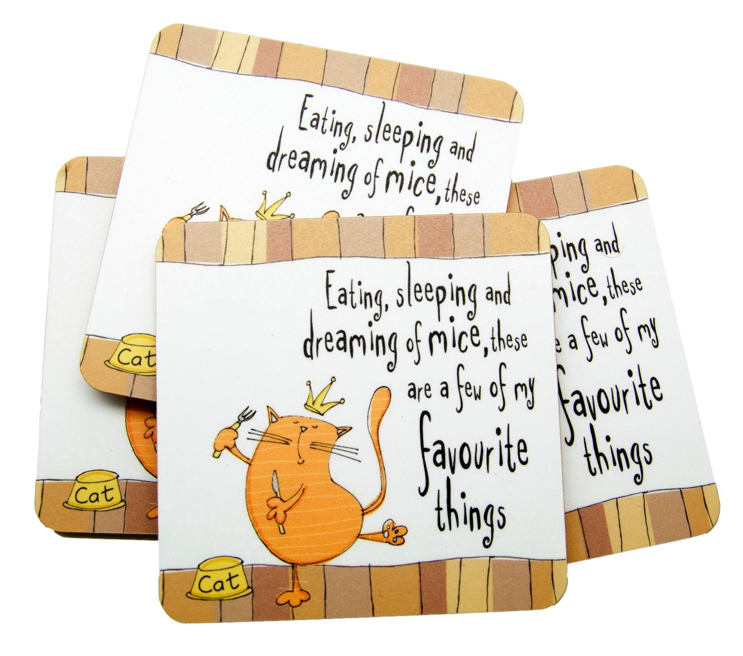 Eating, Sleeping, Dreaming of Mice Set of 4 Cat Coasters