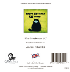 The Masketeer Cat 50th Birthday Card