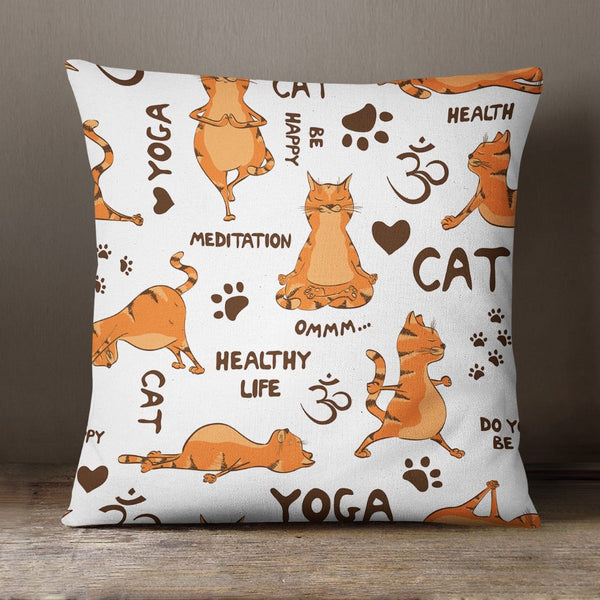 Ginger Yoga Cat Soft Feel Cushion