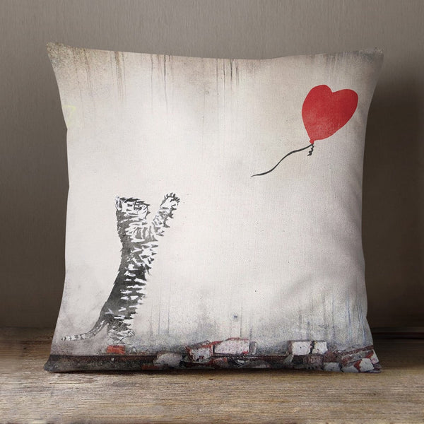 Cat With Balloon Soft Feel Cushion