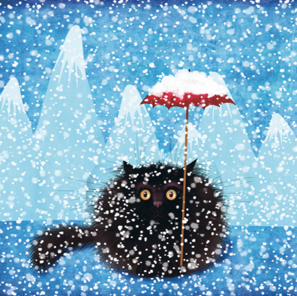 Blizzard Black Cat Christmas Card (FF9717)