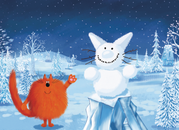 Charlie and the Snowcat Cat Christmas Card (FF9724)