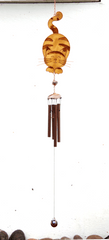 Stained Glass Ginger Cat Wind Chime