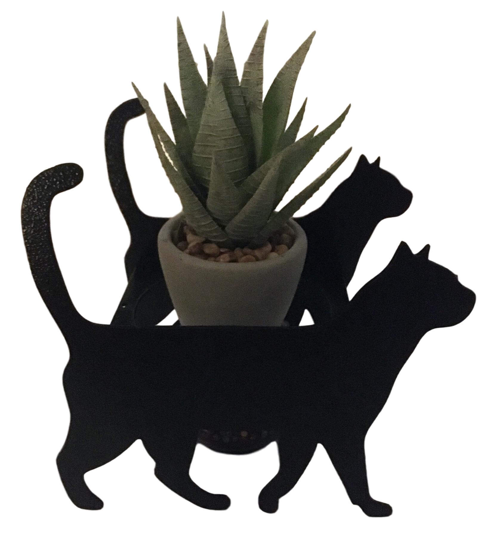 Silhouette Metal Black Cats Planter