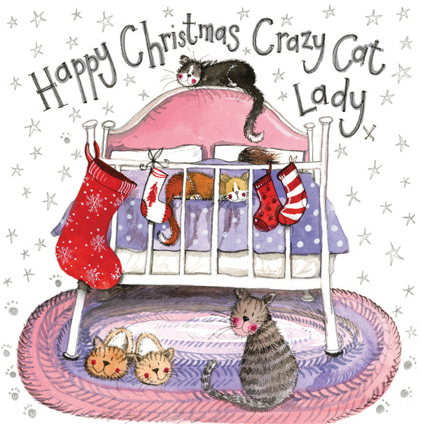Crazy Cat Lady Sparkle Greetings Christmas Card