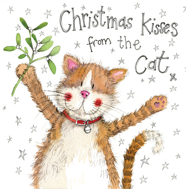 Christmas Kisses from the Cat Greetings Christmas Card