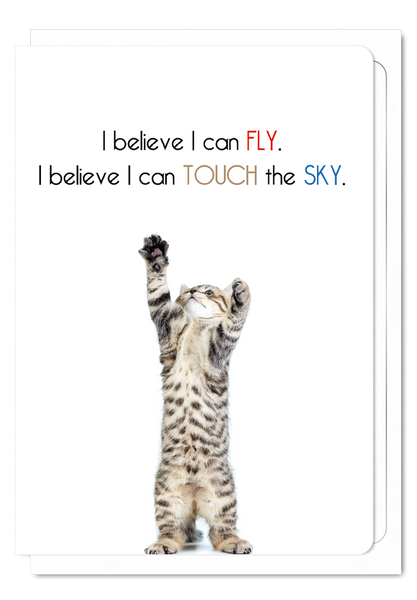 'I Believe I Can Fly' Cat Greeting Card