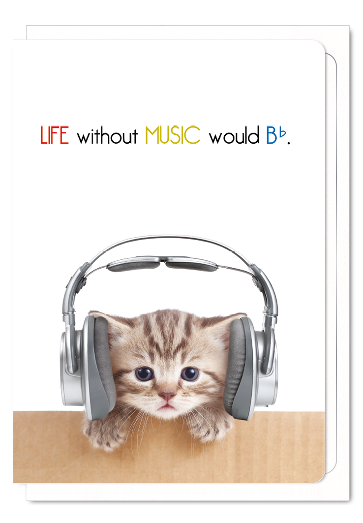 'Life Without Music Would be Flat' Cat Greeting Card