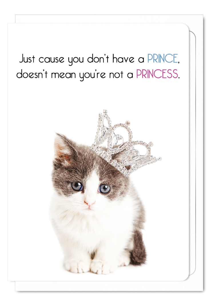 'Beautiful Princess' Cat Greeting Card