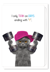 'Training Everyday' Cat Greeting Card