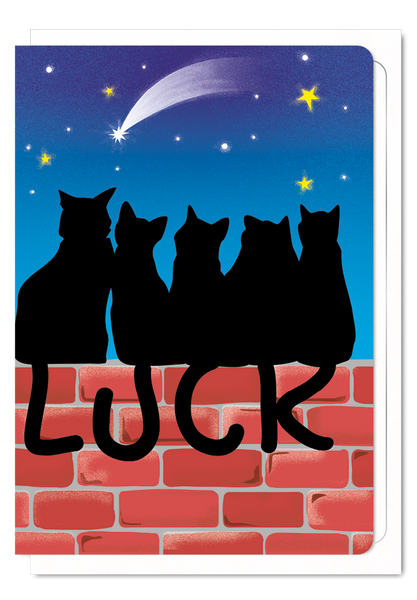 'Lucky Black Cats' Cat Greeting Card