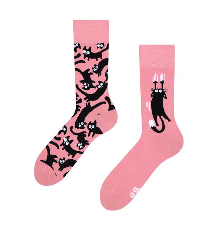 Pink Cats Regular Odd Socks