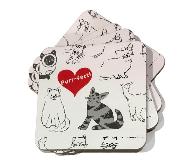 Set of Four Purrfect Cat Coasters