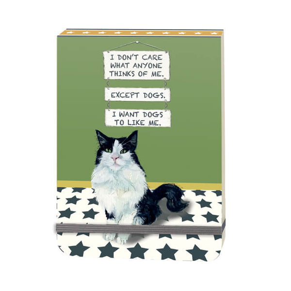 'Except Dogs' Black & White Cat Mini Flip Notebook