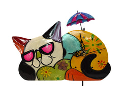 Colourful Metal Cat Clock with Moving Umbrella