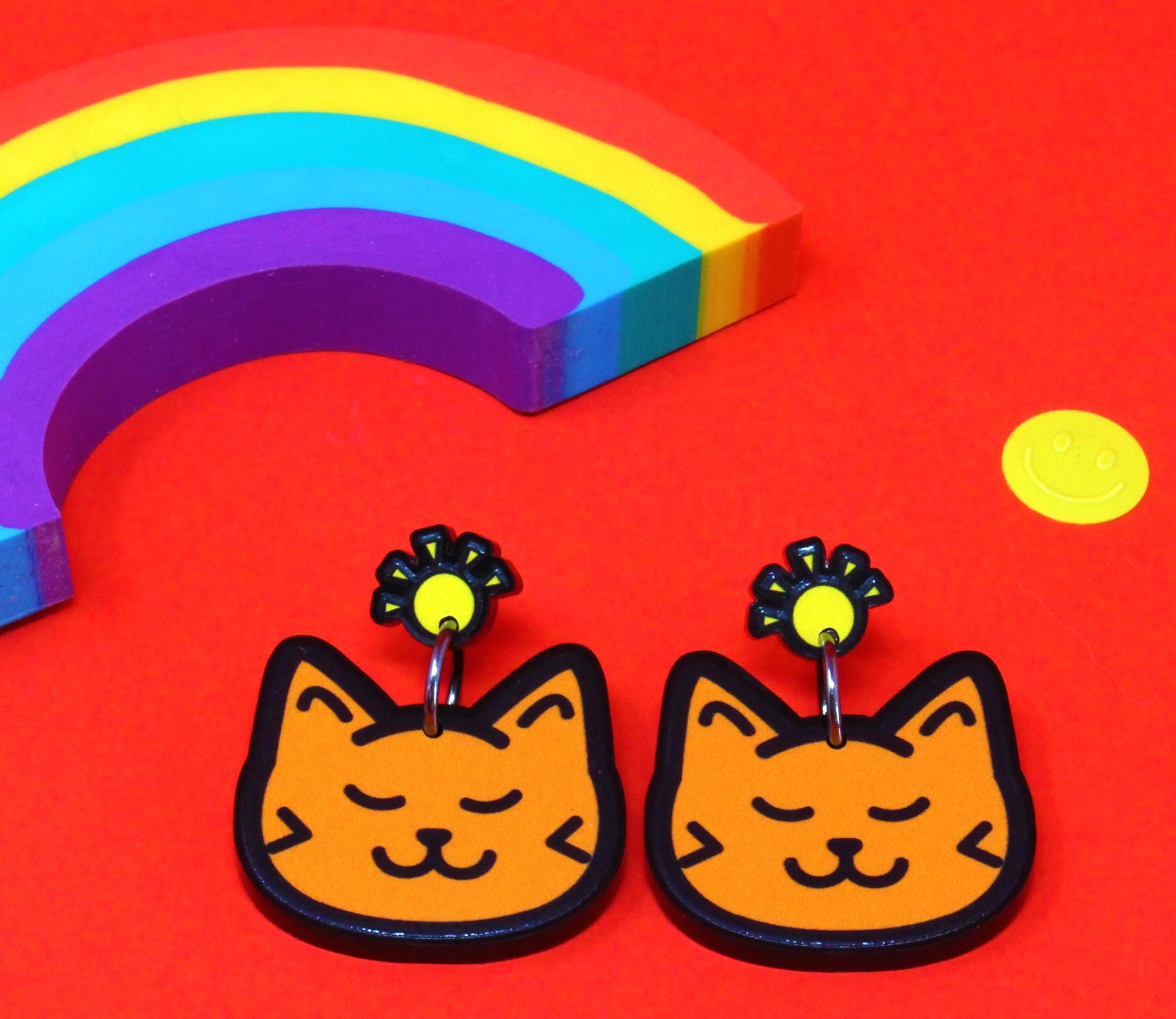 Ginger or Black Cat Drop Earrings