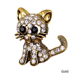 Little Kitty Gold Crystal Brooch / Scarf Pin