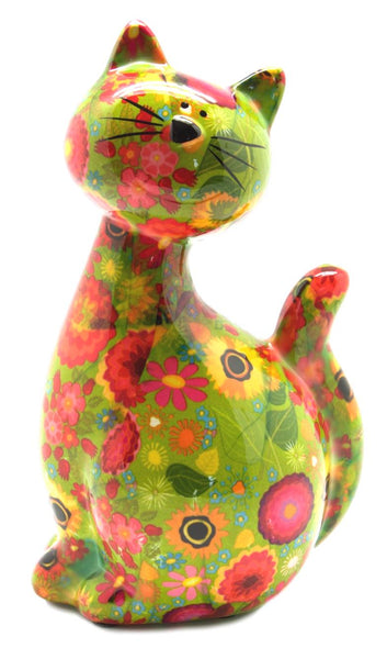 Green with Flowers Ceramic Pomme Pidou Caramel Cat Money Box