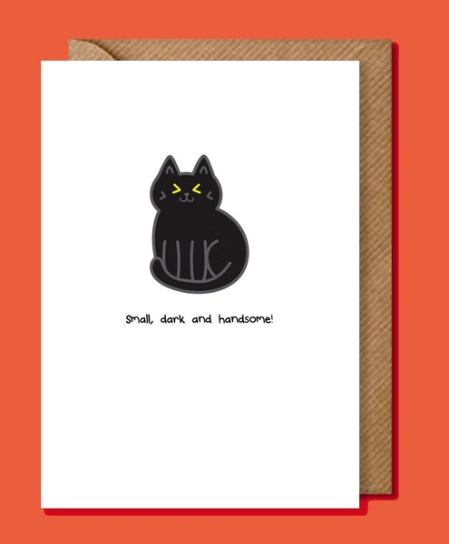Small, Dark and Handsome Black Cat Greeting Card