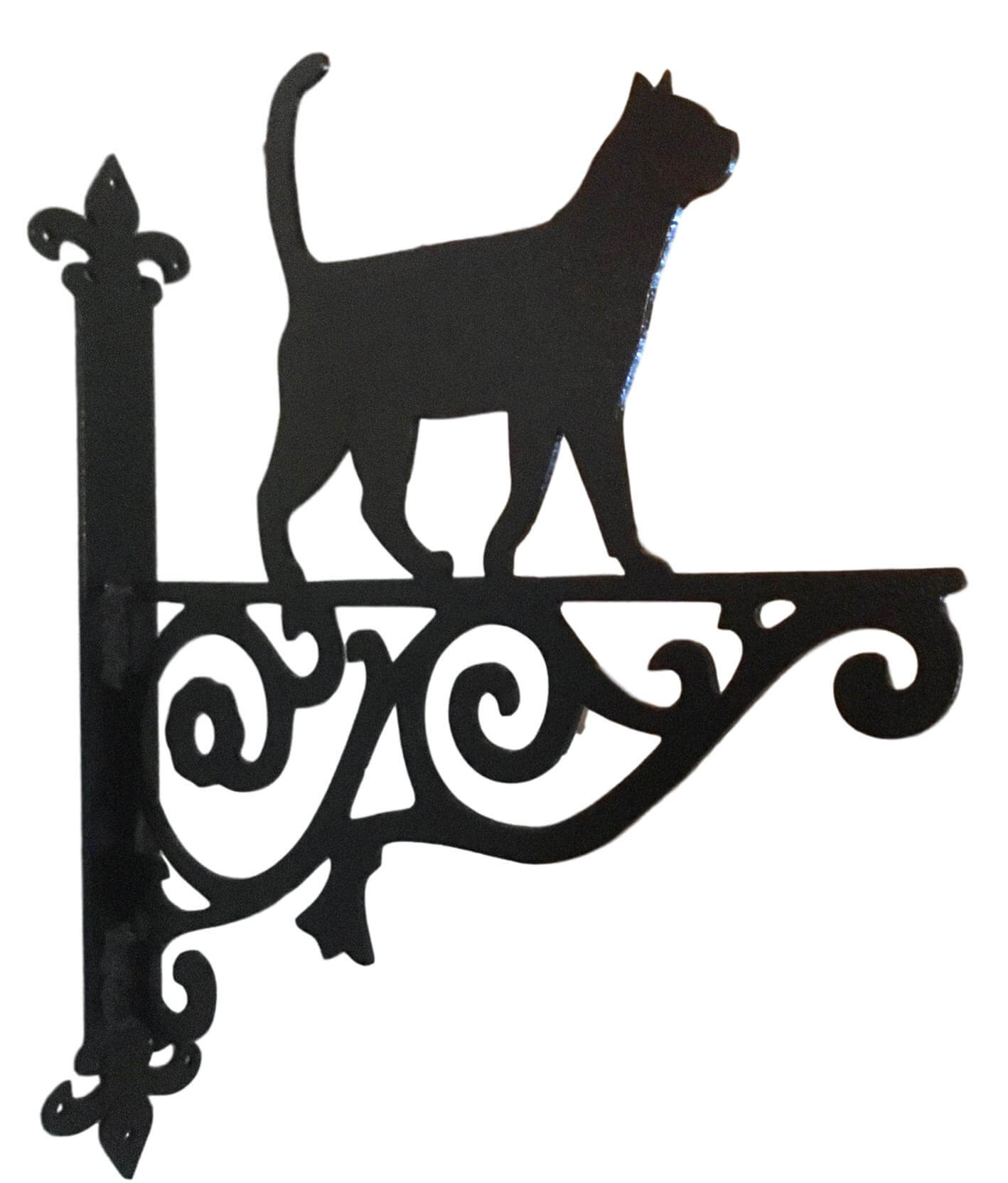Metal Black Cat Walking Hanging Bracket