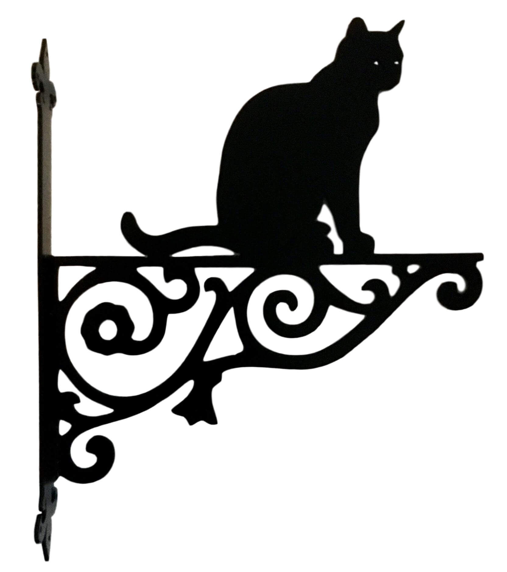Metal Black Cat Sitting Hanging Bracket