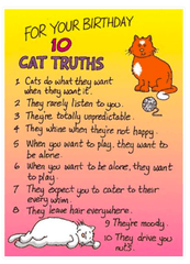 Ten Cat Truths Funny Cat Birthday Card