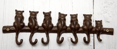 Cast Iron Keyhook 7 Cats Tails