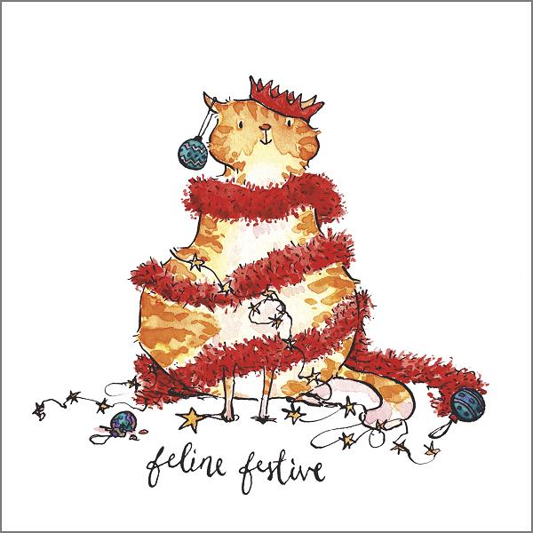 'Feline Festive' Funny Cat Christmas Greeting Card by Holly Surplice