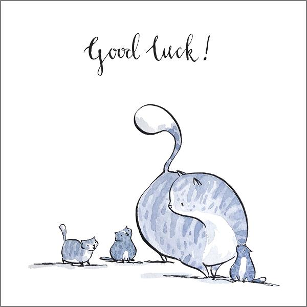 Good Luck Cat Greeting Card by Holly Surplice