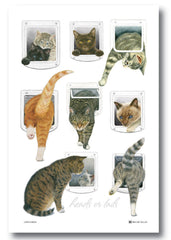 Heads or Tails Cat Tea Towel