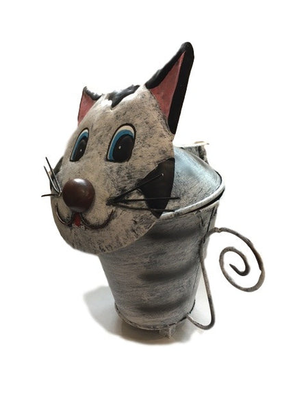 Cute Cat Metal Table Bin