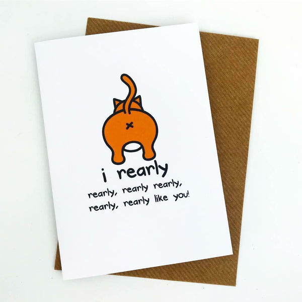 I Rearly Like You Cat Greeting Card