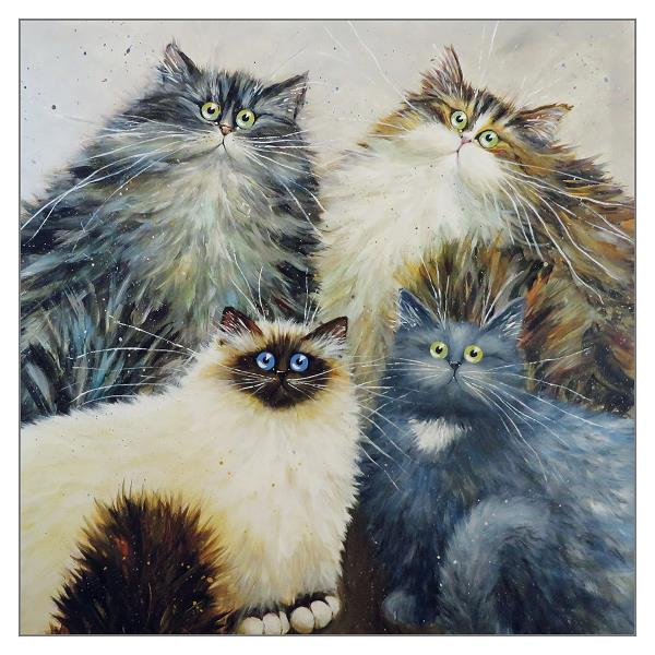 'Fursome Foursome' Cat Greeting Card