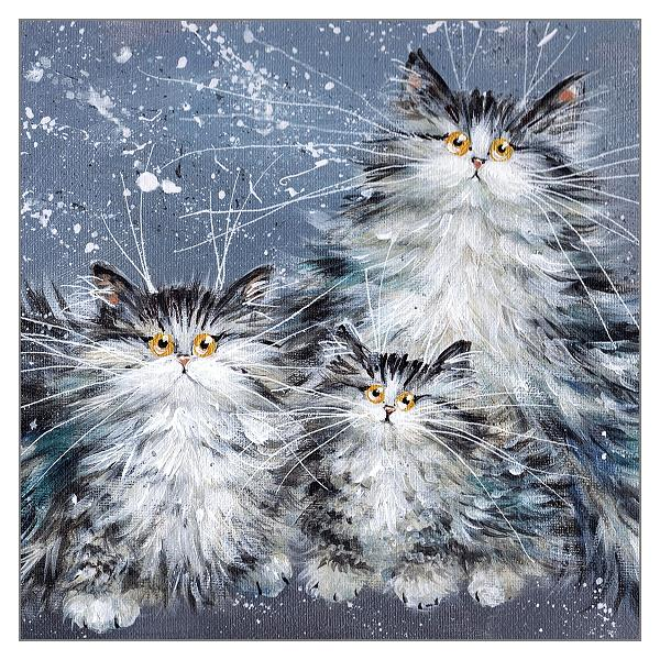 'Fluffy Tabby Family' Cat Greeting Card