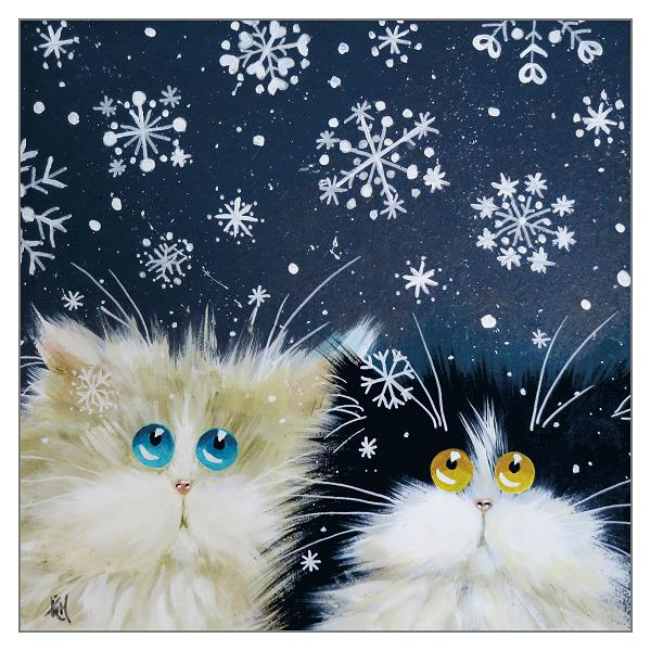 'Snowflakes' Cat Christmas Greeting Card