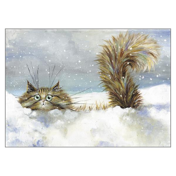 'In a Flurry' Cat Greeting Card