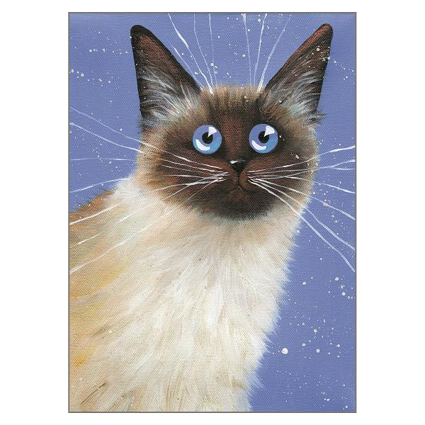 'Blue Caboose' Cat Greeting Card