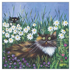 'Flower Prowlers' Cat Greeting Card