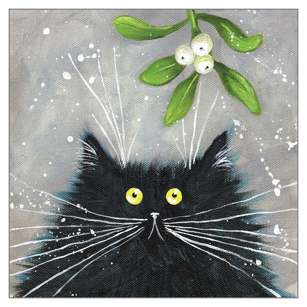 'Mistletoe Cat' Cat Greeting Card